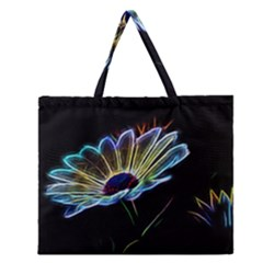 Flower Pattern Design Abstract Background Zipper Large Tote Bag