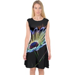 Flower Pattern Design Abstract Background Capsleeve Midi Dress