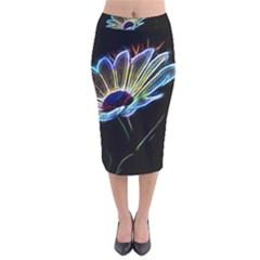 Flower Pattern Design Abstract Background Velvet Midi Pencil Skirt