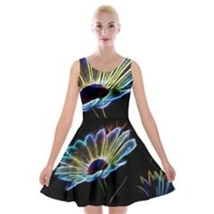Flower Pattern Design Abstract Background Velvet Skater Dress