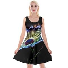 Flower Pattern Design Abstract Background Reversible Velvet Sleeveless Dress