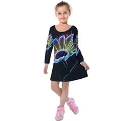 Flower Pattern Design Abstract Background Kids  Long Sleeve Velvet Dress