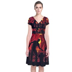 Horror Zombie Ghosts Creepy Short Sleeve Front Wrap Dress