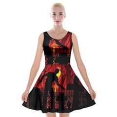 Horror Zombie Ghosts Creepy Velvet Skater Dress