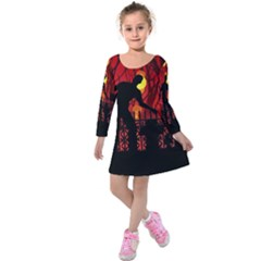 Horror Zombie Ghosts Creepy Kids  Long Sleeve Velvet Dress