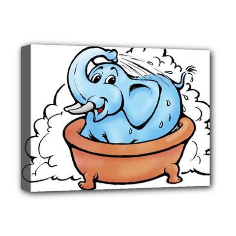 Elephant Bad Shower Deluxe Canvas 16  X 12