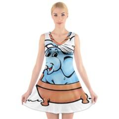 Elephant Bad Shower V Neck Sleeveless Skater Dress