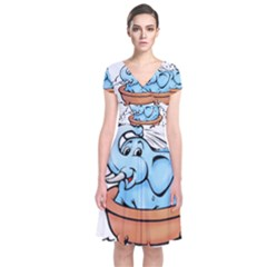 Elephant Bad Shower Short Sleeve Front Wrap Dress