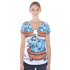Elephant Bad Shower Short Sleeve Front Detail Top