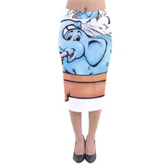 Elephant Bad Shower Velvet Midi Pencil Skirt