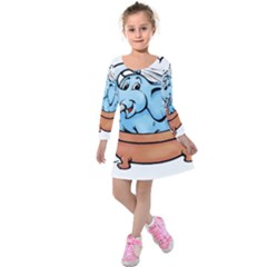 Elephant Bad Shower Kids  Long Sleeve Velvet Dress