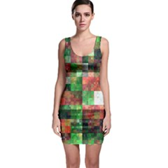 Paper Background Color Graphics Sleeveless Bodycon Dress