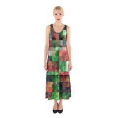 Paper Background Color Graphics Sleeveless Maxi Dress