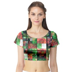 Paper Background Color Graphics Short Sleeve Crop Top (tight Fit)