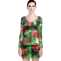 Paper Background Color Graphics Long Sleeve Bodycon Dress