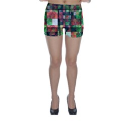 Paper Background Color Graphics Skinny Shorts