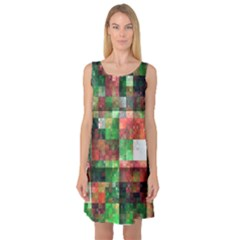 Paper Background Color Graphics Sleeveless Satin Nightdress