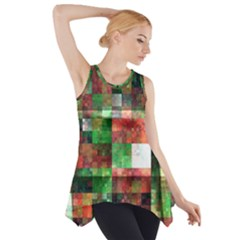 Paper Background Color Graphics Side Drop Tank Tunic