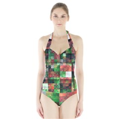 Paper Background Color Graphics Halter Swimsuit