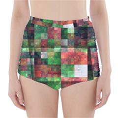 Paper Background Color Graphics High Waisted Bikini Bottoms