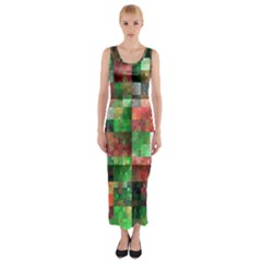Paper Background Color Graphics Fitted Maxi Dress