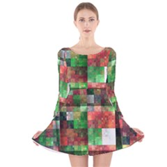 Paper Background Color Graphics Long Sleeve Velvet Skater Dress