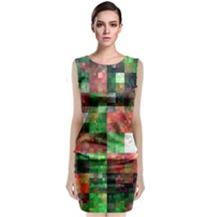 Paper Background Color Graphics Classic Sleeveless Midi Dress