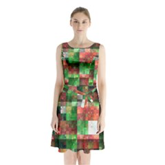 Paper Background Color Graphics Sleeveless Chiffon Waist Tie Dress