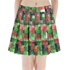 Paper Background Color Graphics Pleated Mini Skirt