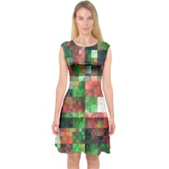 Paper Background Color Graphics Capsleeve Midi Dress