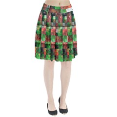 Paper Background Color Graphics Pleated Skirt