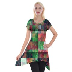 Paper Background Color Graphics Short Sleeve Side Drop Tunic