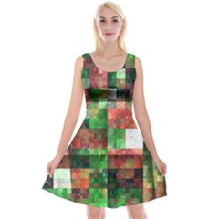Paper Background Color Graphics Reversible Velvet Sleeveless Dress