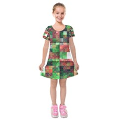 Paper Background Color Graphics Kids  Short Sleeve Velvet Dress
