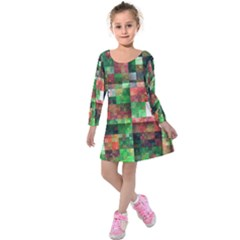 Paper Background Color Graphics Kids  Long Sleeve Velvet Dress