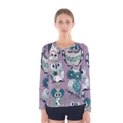Seamless Owl Pattern Purple Women s Long Sleeve Tee