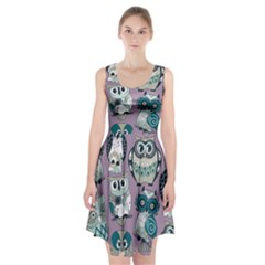Seamless Owl Pattern Purple Racerback Midi Dress