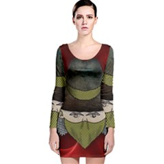 Illustration Drawing Vector Color Long Sleeve Velvet Bodycon Dress