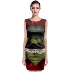Illustration Drawing Vector Color Sleeveless Velvet Midi Dress