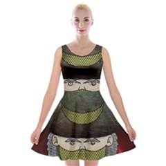 Illustration Drawing Vector Color Velvet Skater Dress
