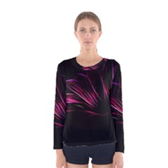 Purple Flower Pattern Design Abstract Background Women s Long Sleeve Tee