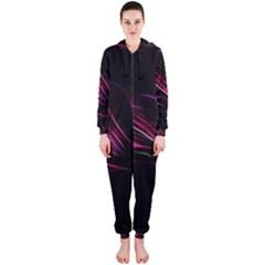 Purple Flower Pattern Design Abstract Background Hooded Jumpsuit (ladies)