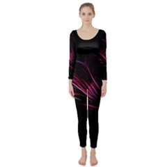 Purple Flower Pattern Design Abstract Background Long Sleeve Catsuit