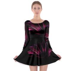 Purple Flower Pattern Design Abstract Background Long Sleeve Skater Dress