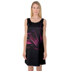 Purple Flower Pattern Design Abstract Background Sleeveless Satin Nightdress