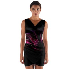 Purple Flower Pattern Design Abstract Background Wrap Front Bodycon Dress