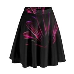 Purple Flower Pattern Design Abstract Background High Waist Skirt