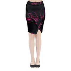 Purple Flower Pattern Design Abstract Background Midi Wrap Pencil Skirt