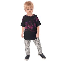 Purple Flower Pattern Design Abstract Background Kids  Raglan Tee