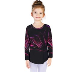 Purple Flower Pattern Design Abstract Background Kids  Long Sleeve Tee